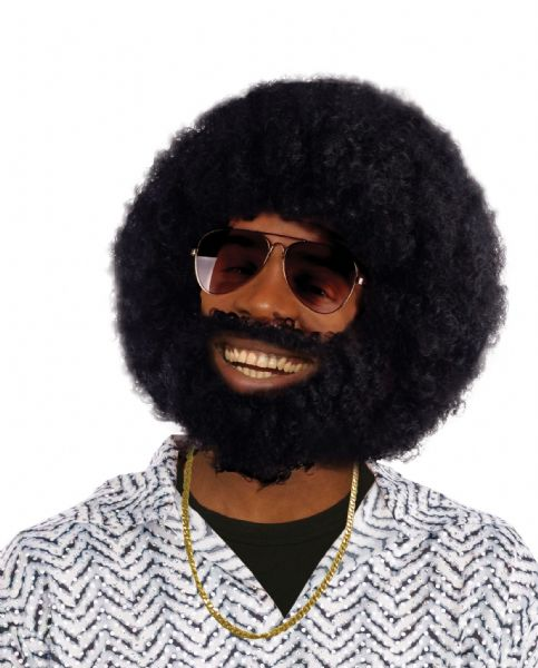 Adults Afro + Facial Hair Wig 70s Disco Hippie Fancy Dress